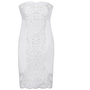 White House Black Market White Strapless Dress